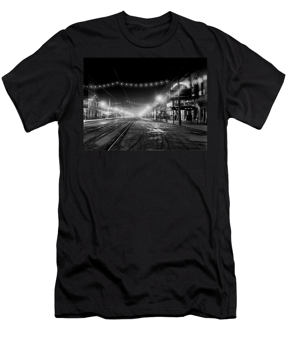 Niagara Falls Men's T-Shirt (Athletic Fit) featuring the photograph City Lights Of Niagara Falls 1905 by Mountain Dreams