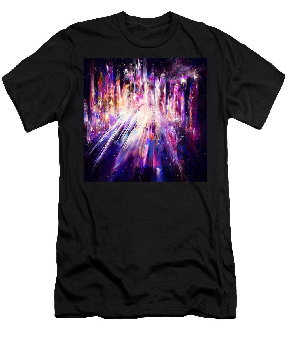 Abstract Men's T-Shirt (Athletic Fit) featuring the digital art City Nights City Lights by Rachel Christine Nowicki