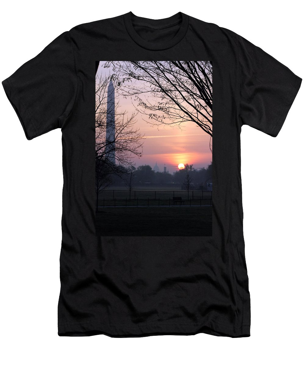 Washington Dc Men's T-Shirt (Athletic Fit) featuring the photograph City Rising by Carolyn Stagger Cokley