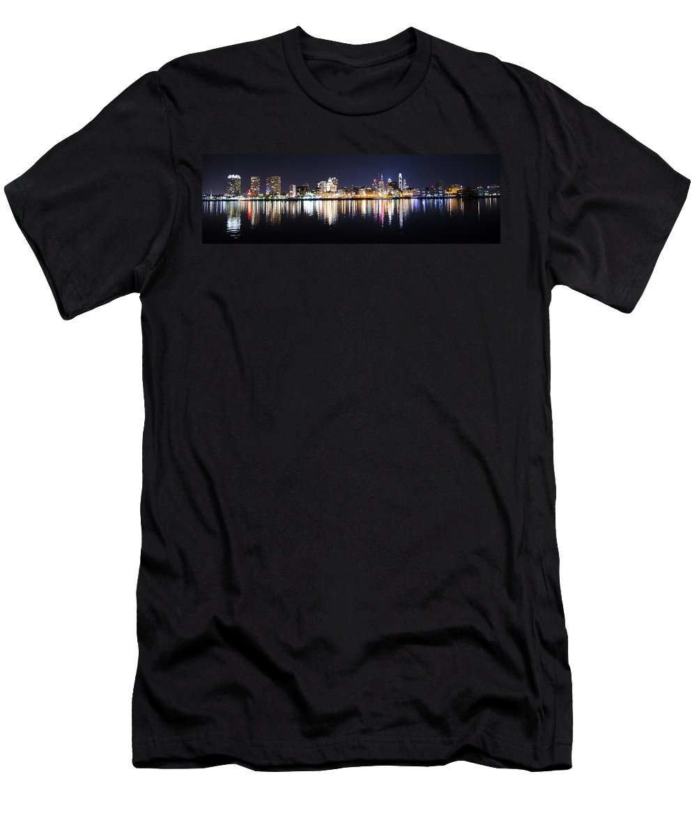 Cityscape Men's T-Shirt (Athletic Fit) featuring the photograph Cityscape - Philadelphia by Bill Cannon