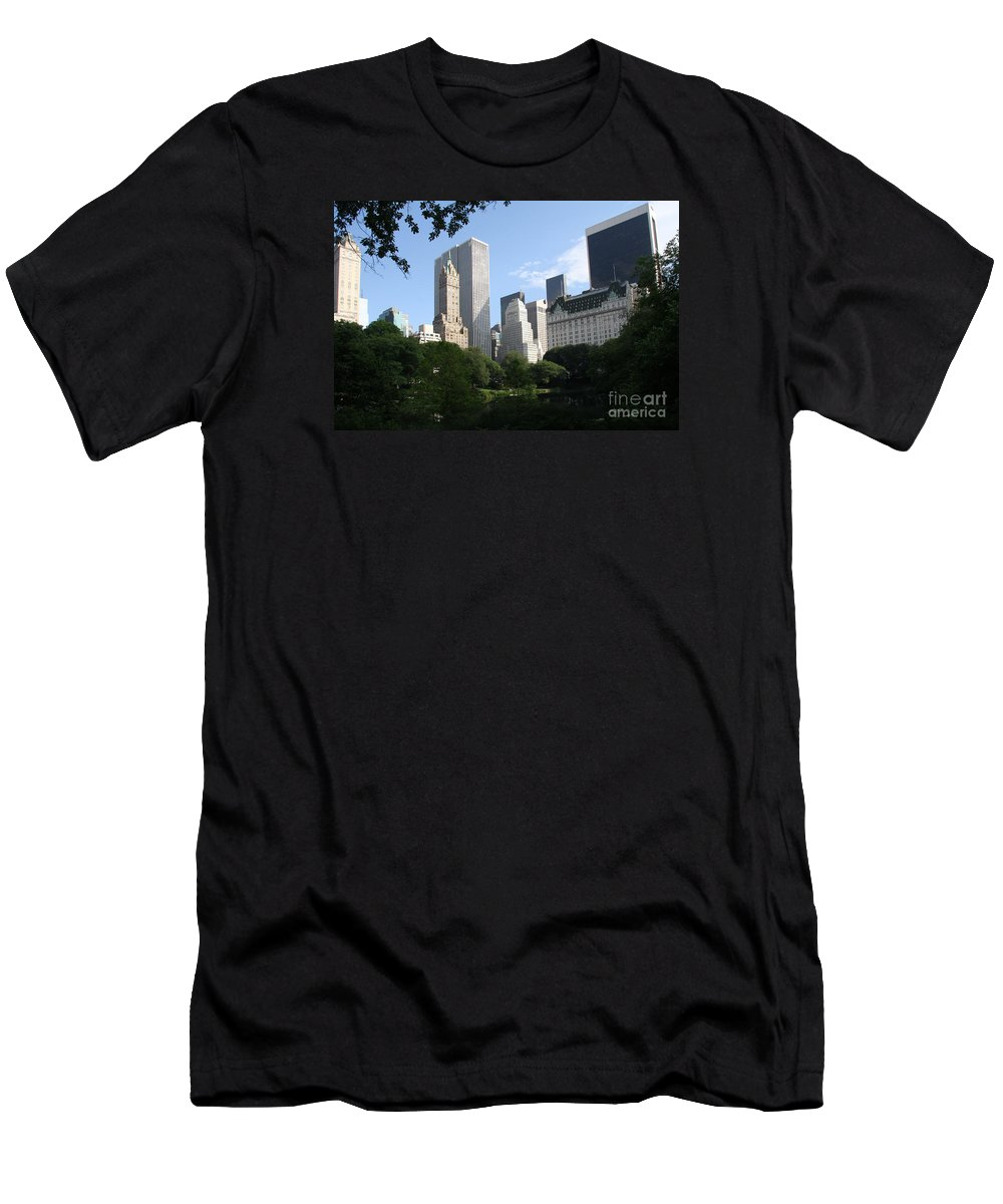 City Men's T-Shirt (Athletic Fit) featuring the photograph Cityview Form Central Park by Christiane Schulze Art And Photography