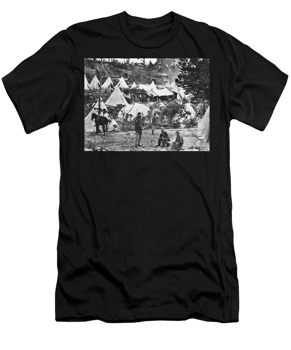 1860s Men's T-Shirt (Athletic Fit) featuring the photograph Civil War Hospital, 1860s by Granger