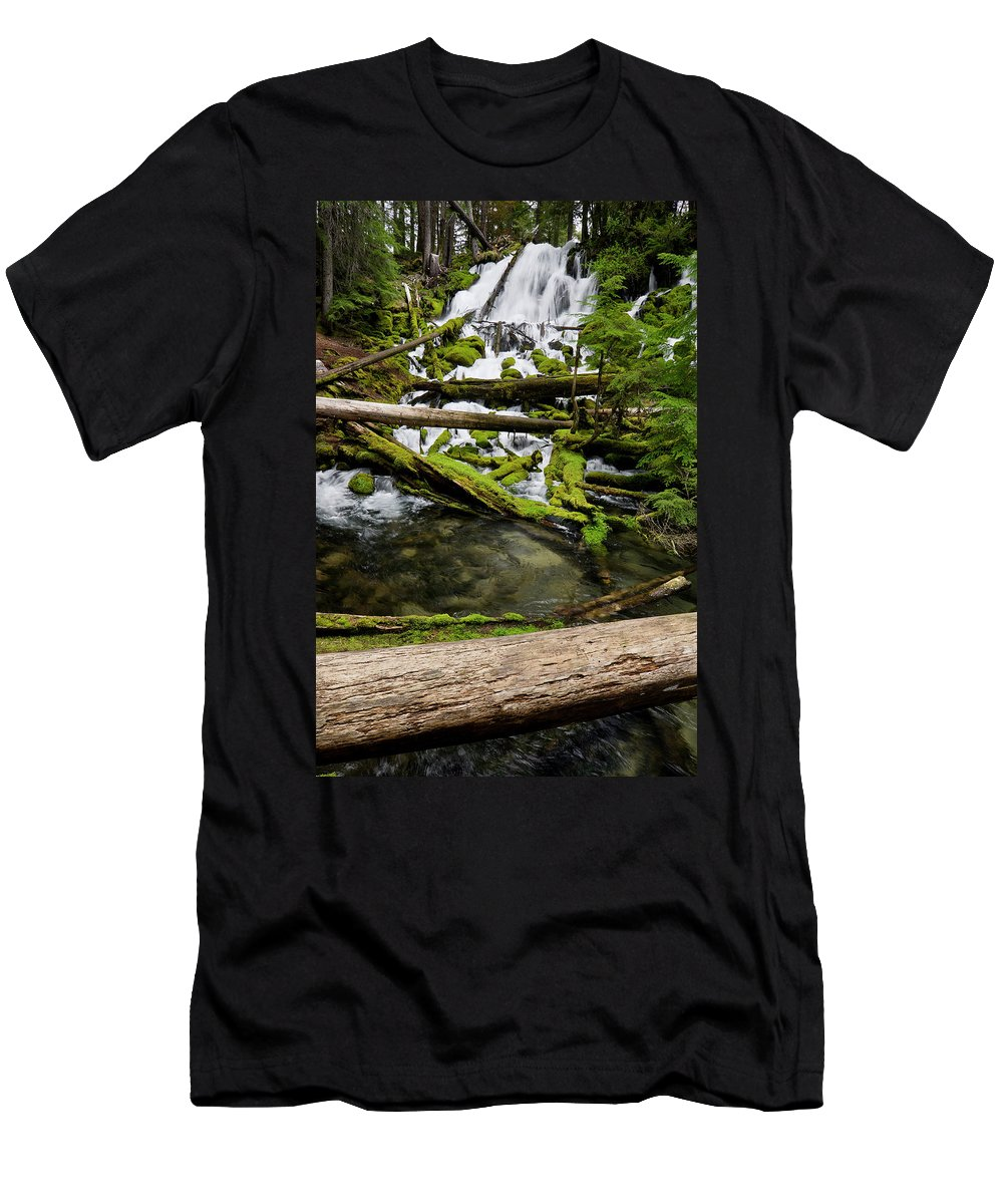 Cascades Men's T-Shirt (Athletic Fit) featuring the photograph Clearwater Falls by Greg Nyquist