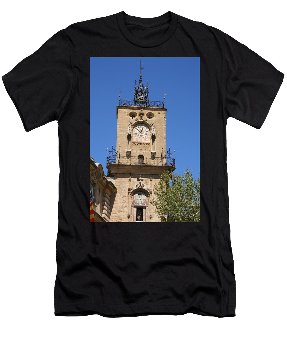 Clock Men's T-Shirt (Athletic Fit) featuring the photograph Clocktower - Aix En Provence by Christiane Schulze Art And Photography