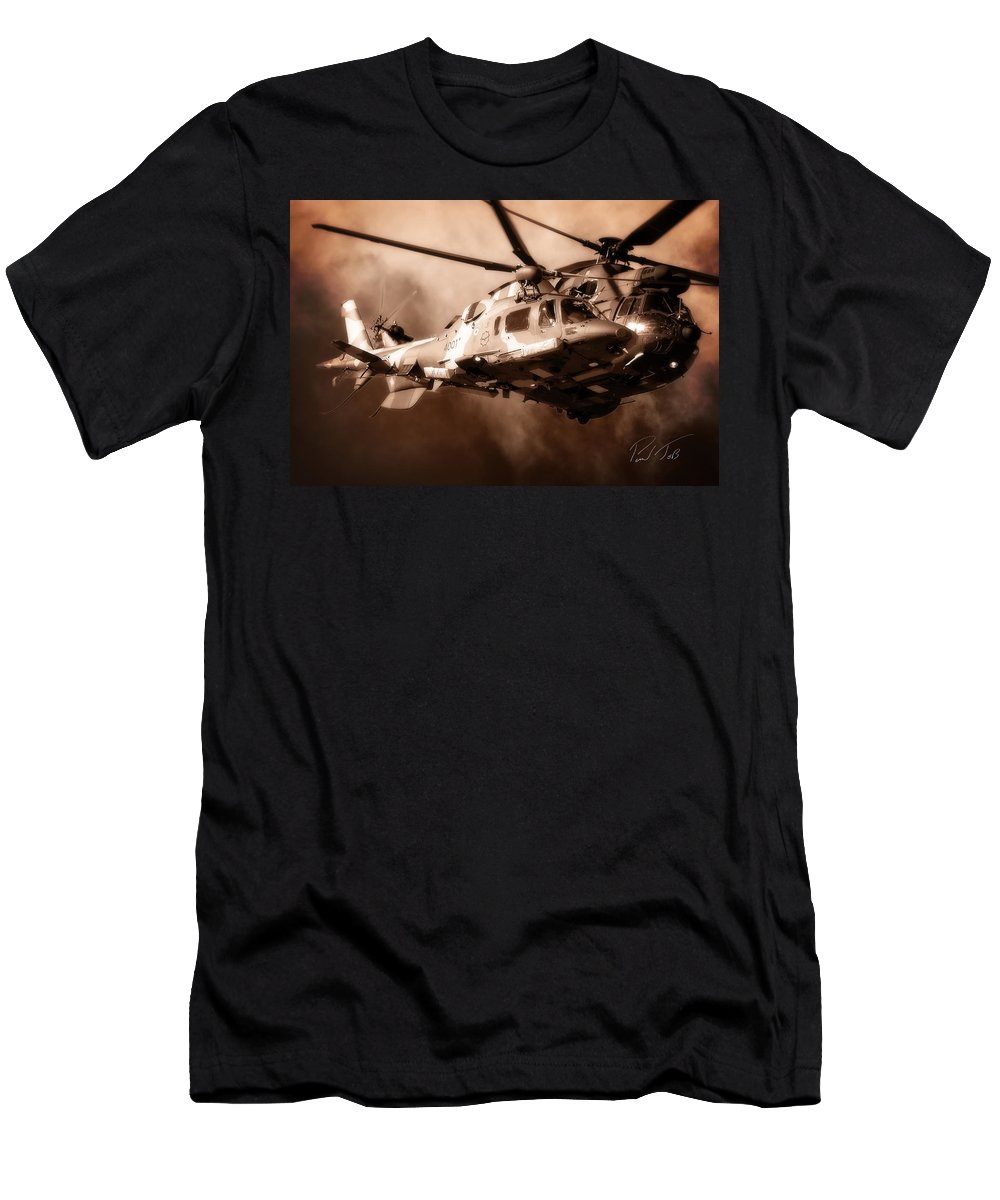 Agustawestland Aw109 Men's T-Shirt (Athletic Fit) featuring the photograph Close Shave by Paul Job