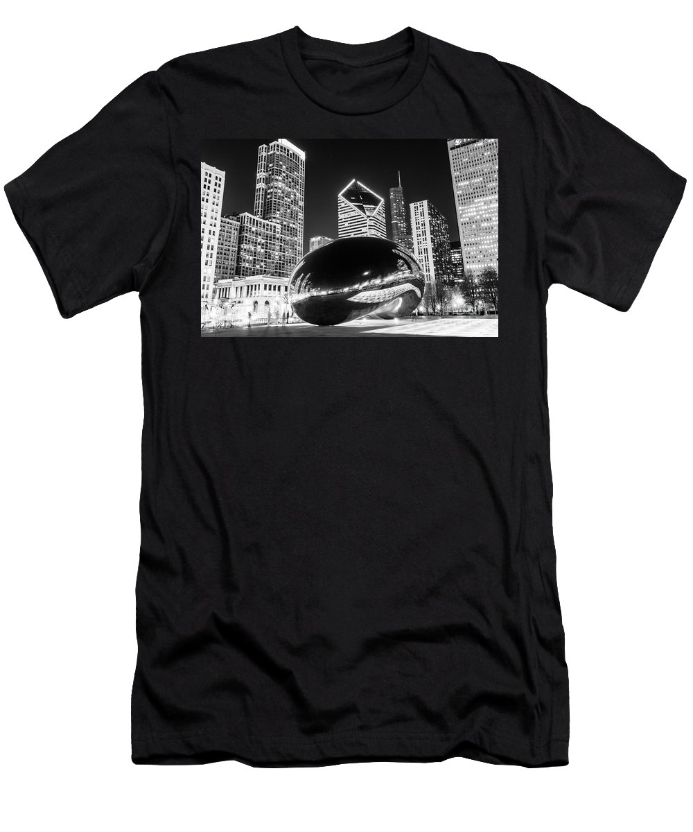 2012 Men's T-Shirt (Athletic Fit) featuring the photograph Cloud Gate Chicago Bean Black And White Picture by Paul Velgos