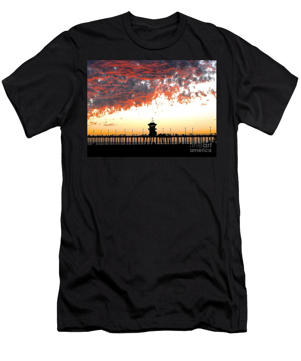 Pier Men's T-Shirt (Athletic Fit) featuring the photograph Clouds On Fire by Margie Amberge