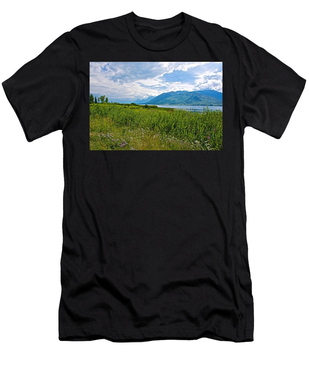 Clouds Over Jackson Lake In Grand Teton National Park Men's T-Shirt (Athletic Fit) featuring the photograph Clouds Over Jackson Lake In Grand Teton National Park-wyoming by Ruth Hager