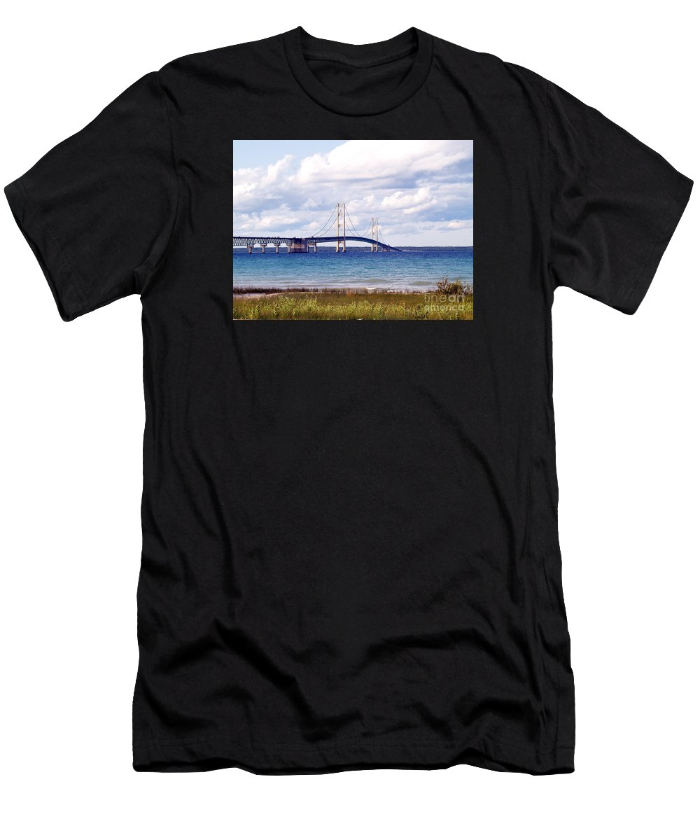 Bridge Men's T-Shirt (Athletic Fit) featuring the photograph Clouds Over Mackinaw by Melissa McDole