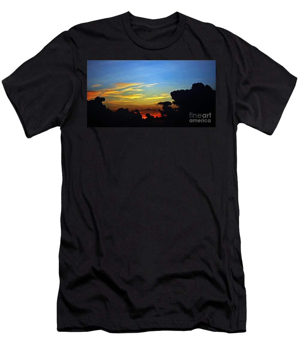 Sunrise Men's T-Shirt (Athletic Fit) featuring the photograph Cloudy Morning In Fort Lauderadale by Judy Wolinsky