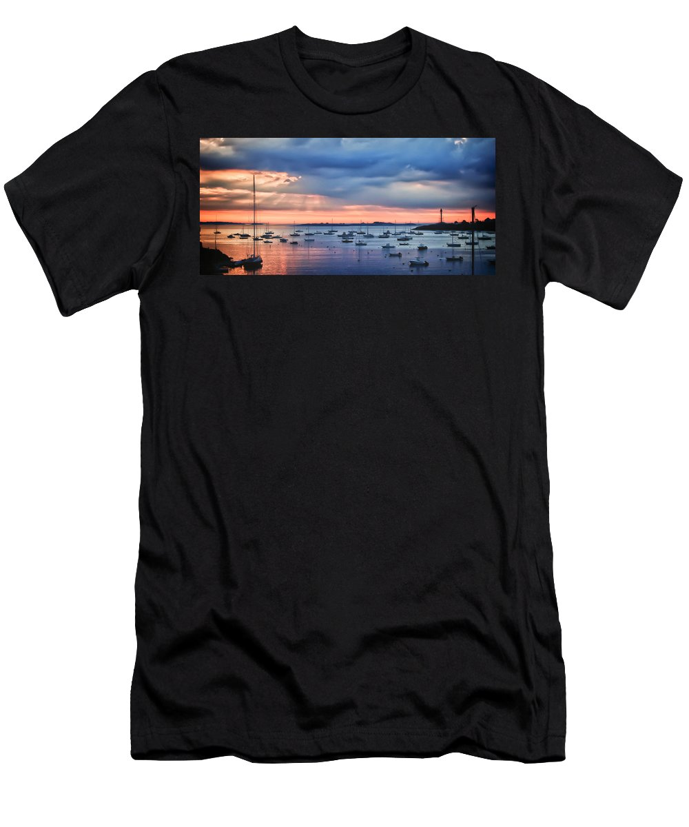 Dramatic Morning Clouds Men's T-Shirt (Athletic Fit) featuring the photograph Cloudy Sunrise by Jeff Folger