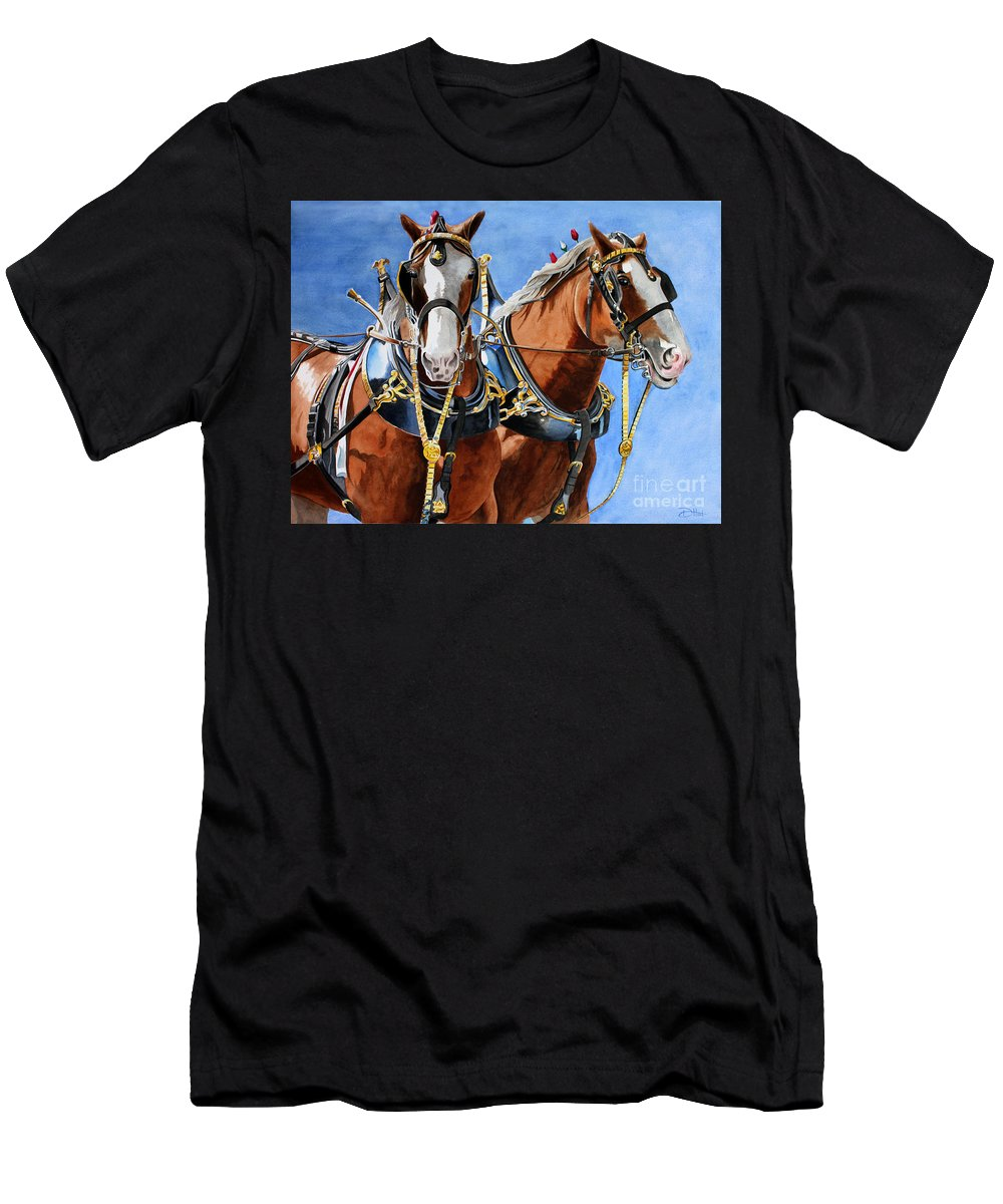 Horses Men's T-Shirt (Athletic Fit) featuring the painting Clydesdale Duo by Debbie Hart