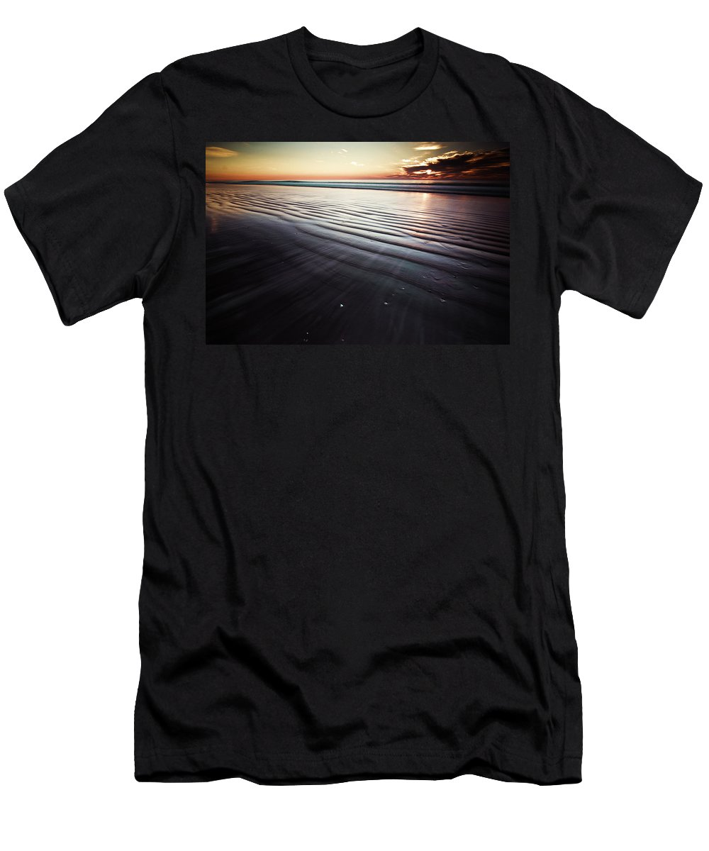 Coastal Wall Art Men's T-Shirt (Athletic Fit) featuring the photograph Coastal Sunrise Seascape Contemporary Relaxing Wall Art On Canvas Prints by Gray Artus