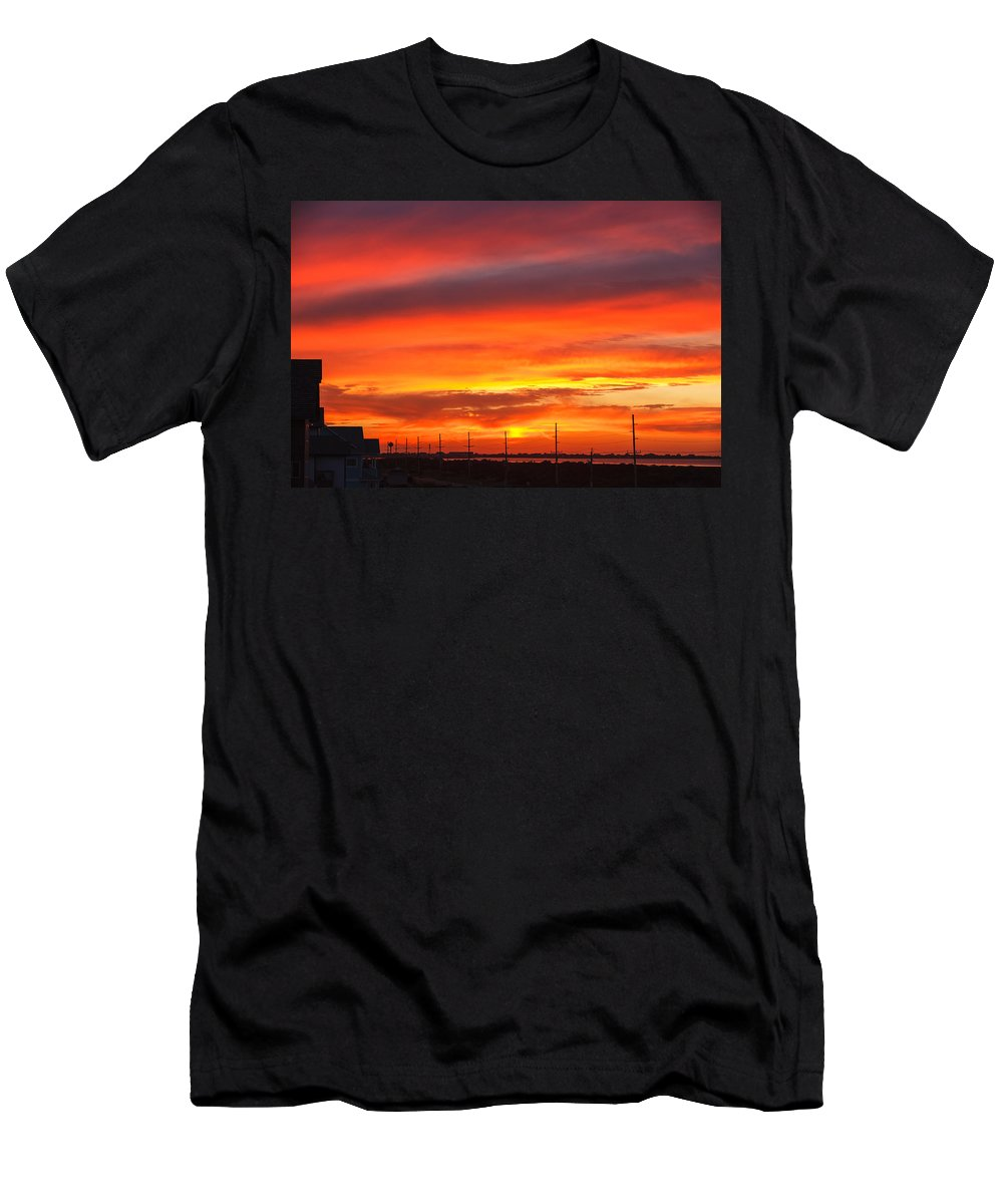 Sunset Men's T-Shirt (Athletic Fit) featuring the photograph Coastal Sunset by Carol VanDyke