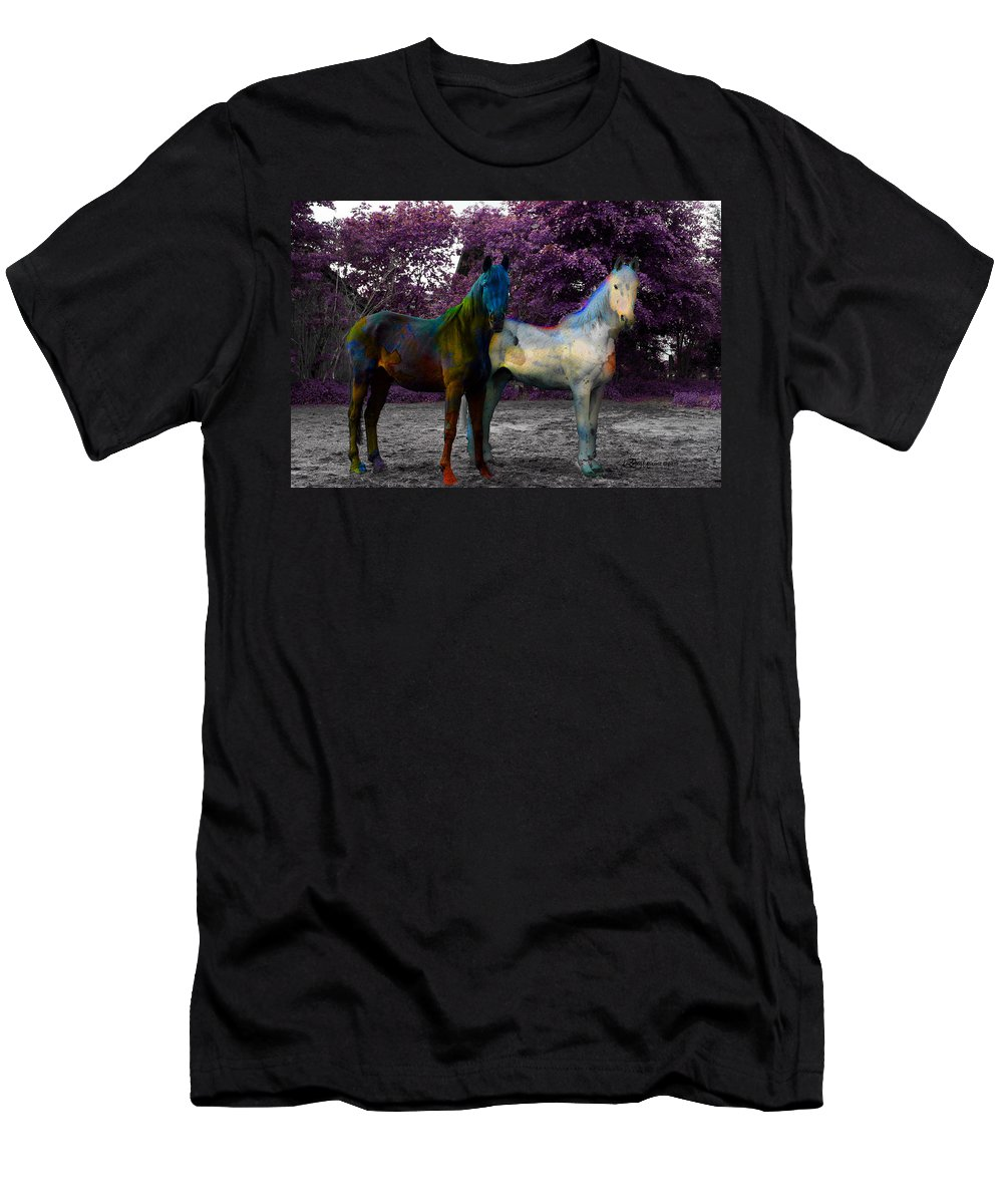 Horses Men's T-Shirt (Athletic Fit) featuring the photograph Coats Of Many Colors by Ericamaxine Price
