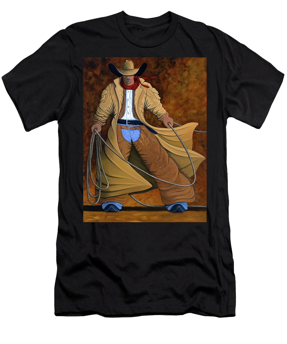 Contemporary Western Men's T-Shirt (Athletic Fit) featuring the painting Cody by Lance Headlee