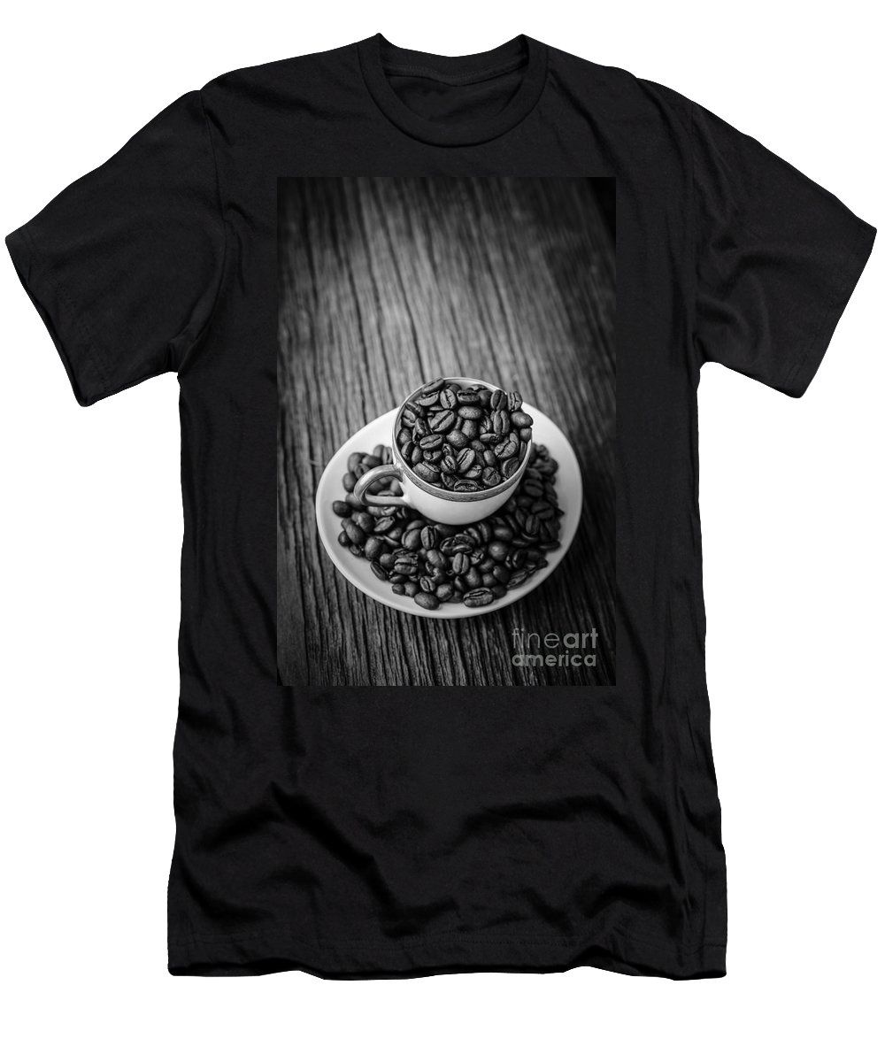 Bean Men's T-Shirt (Athletic Fit) featuring the photograph Coffee Beans by Edward Fielding