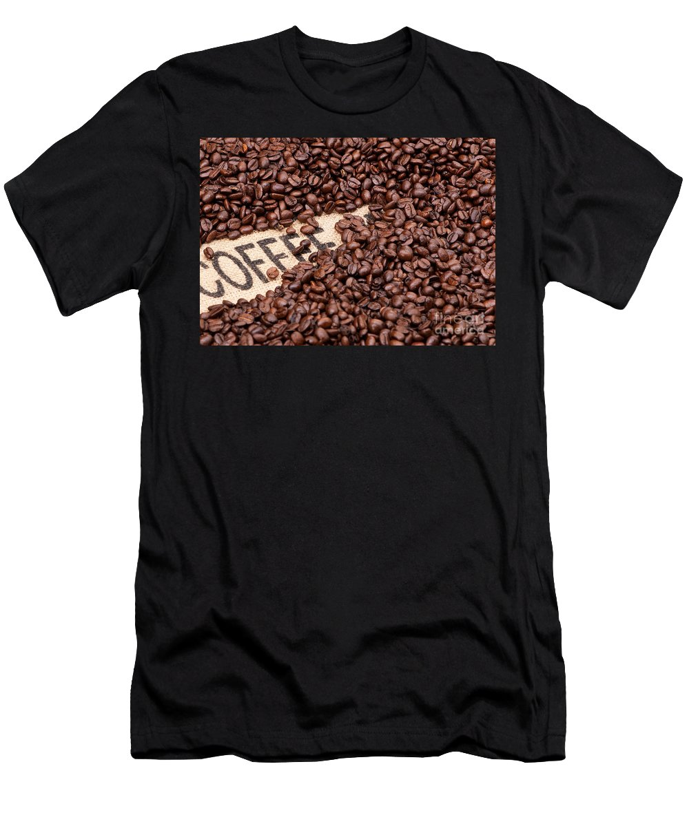 Arabica Men's T-Shirt (Athletic Fit) featuring the photograph Coffee Beans by Rick Piper Photography