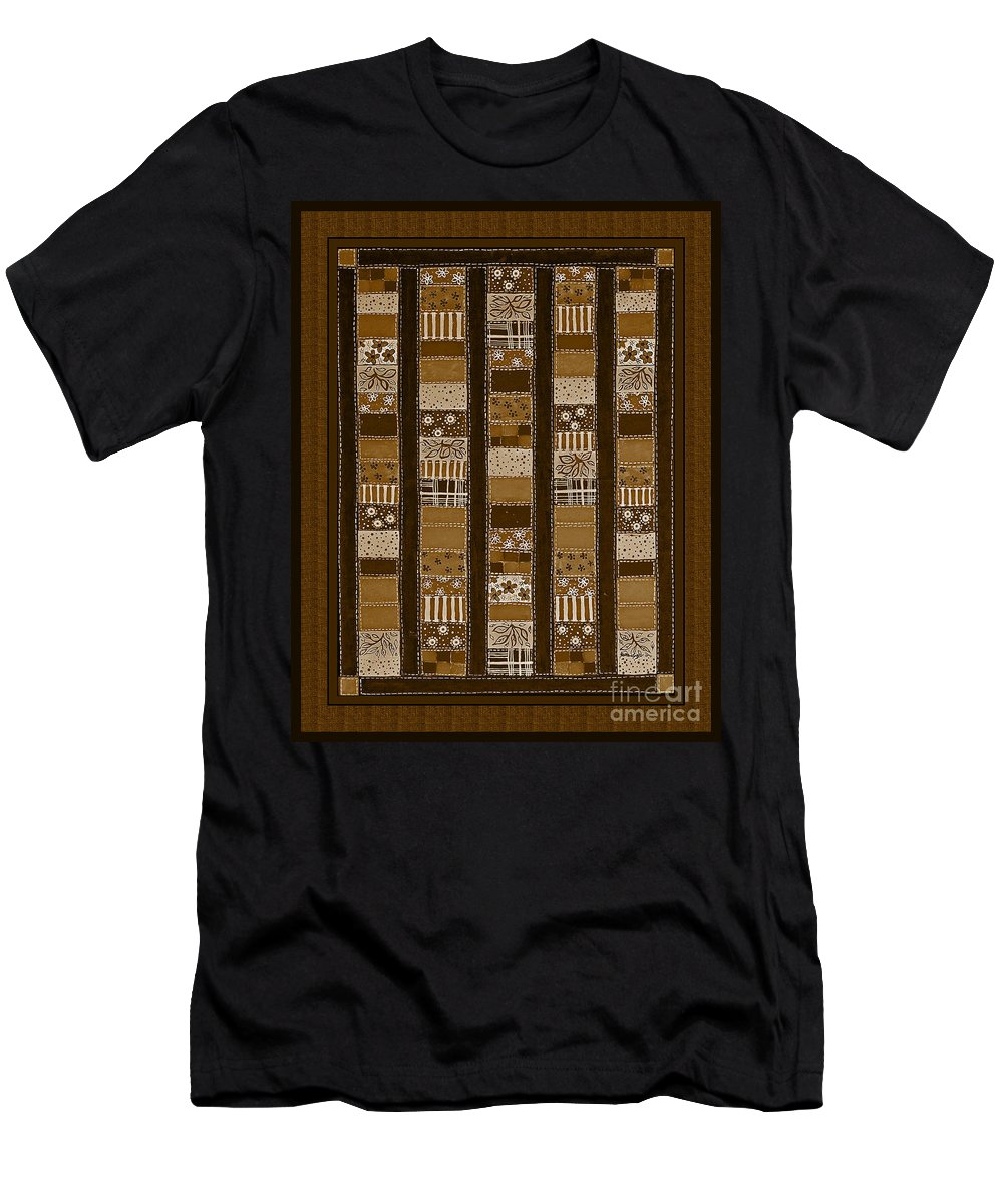 Coin Quilt Men's T-Shirt (Athletic Fit) featuring the photograph Coin Quilt - Painting - Sepia Patches by Barbara Griffin