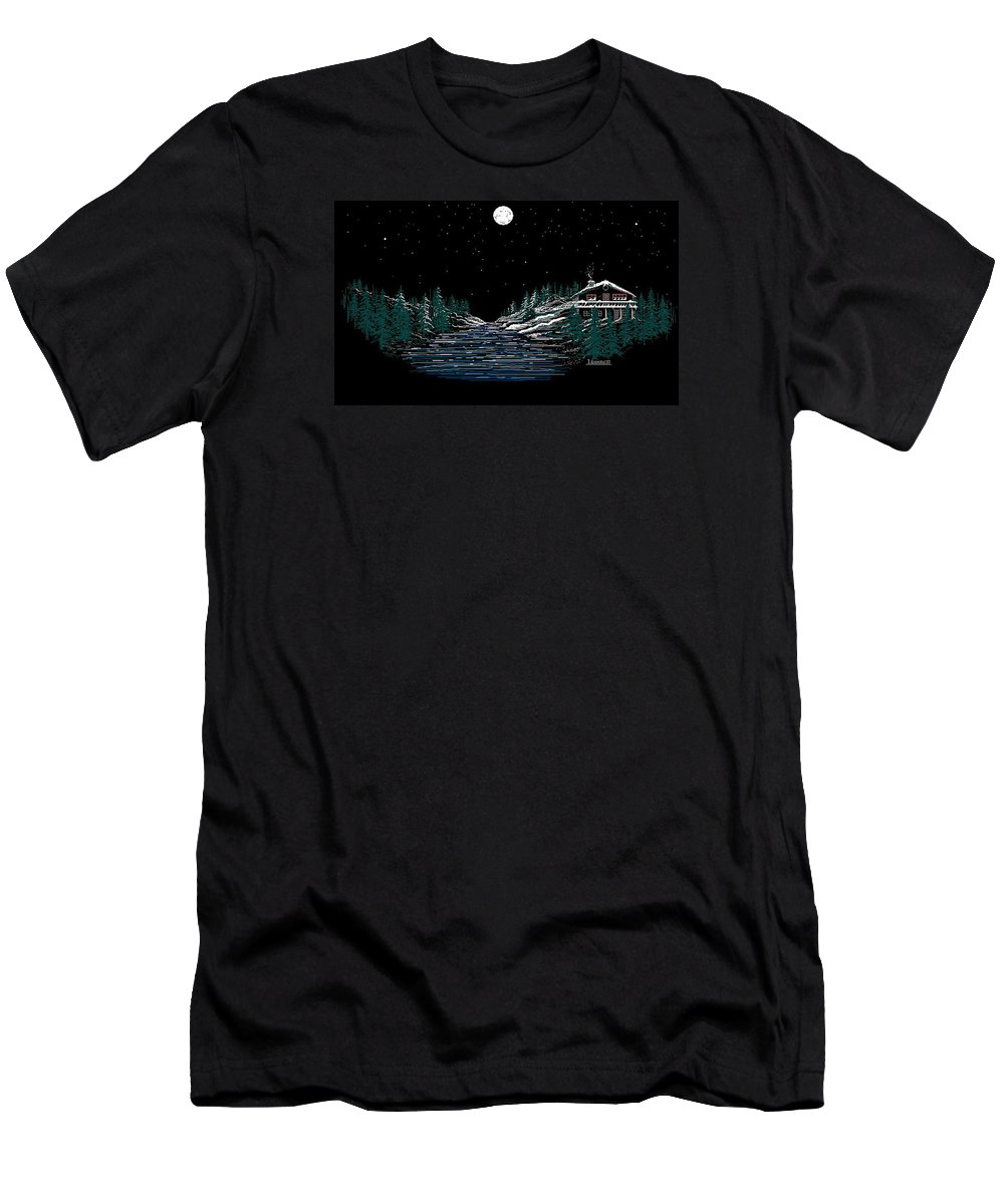 Cold Mountain Winter Men's T-Shirt (Athletic Fit) featuring the digital art Cold Mountain Winter by Larry Lehman