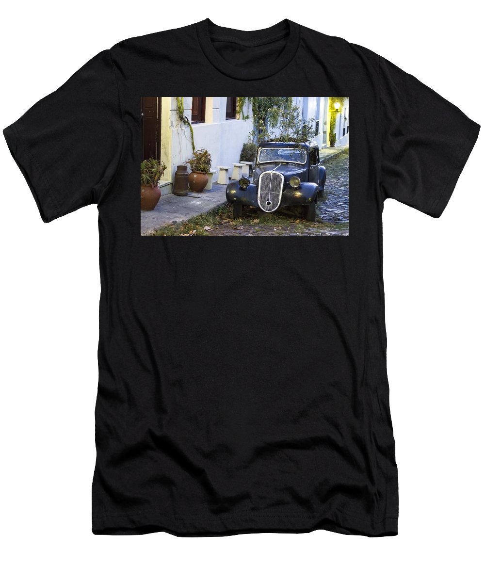 Uruguay Men's T-Shirt (Athletic Fit) featuring the photograph Colonia Del Sacramento Oldtimer by For Ninety One Days