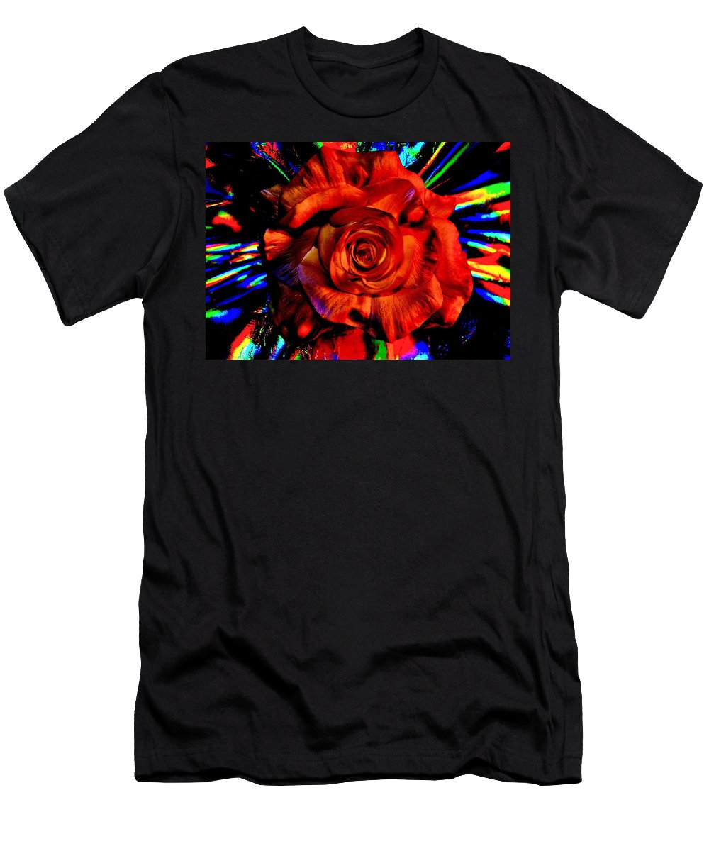 Bright Men's T-Shirt (Athletic Fit) featuring the photograph Color Intensive Rose by Michelle McPhillips