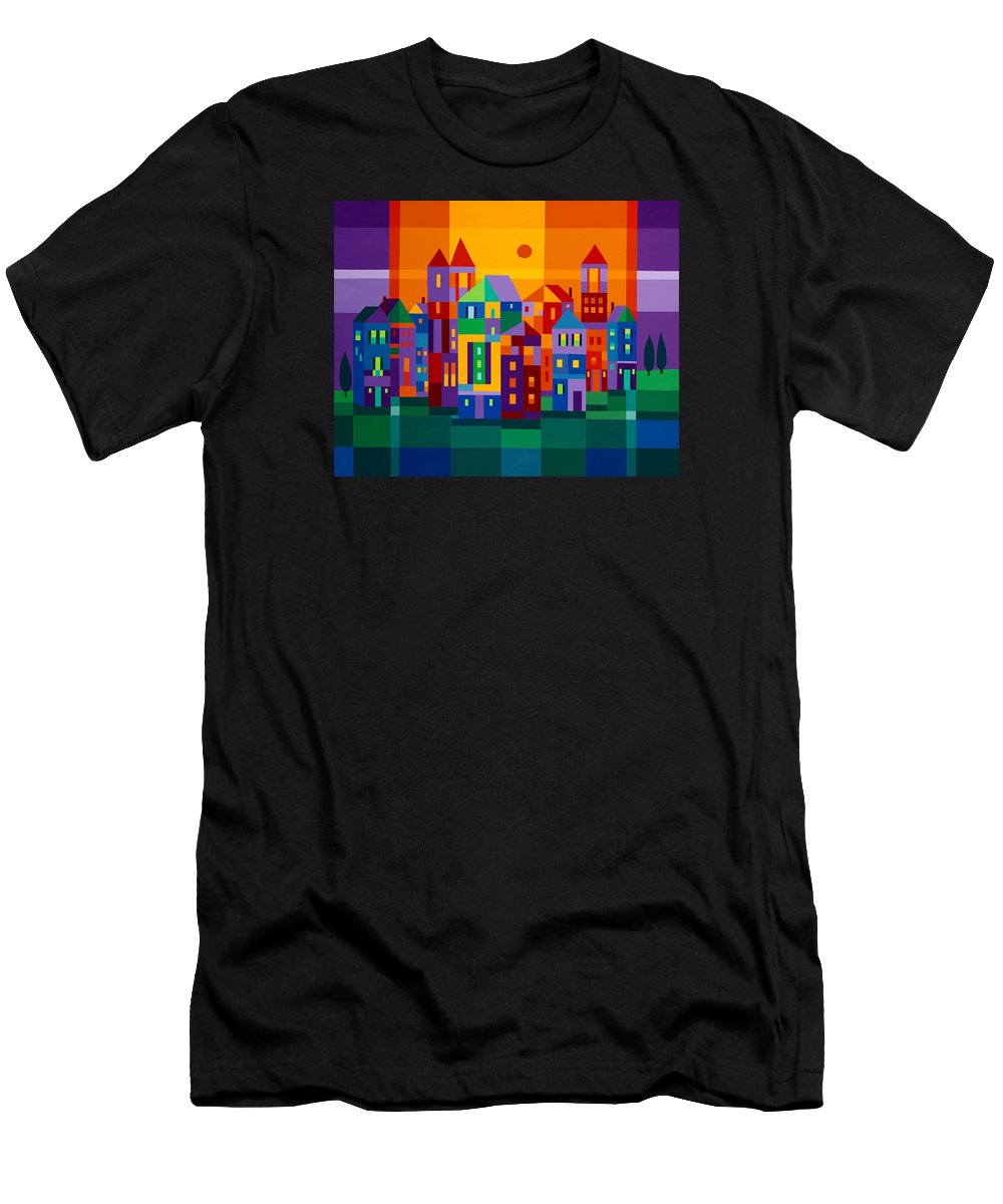 Landscape Men's T-Shirt (Athletic Fit) featuring the painting Color Town by Michael Jernegan