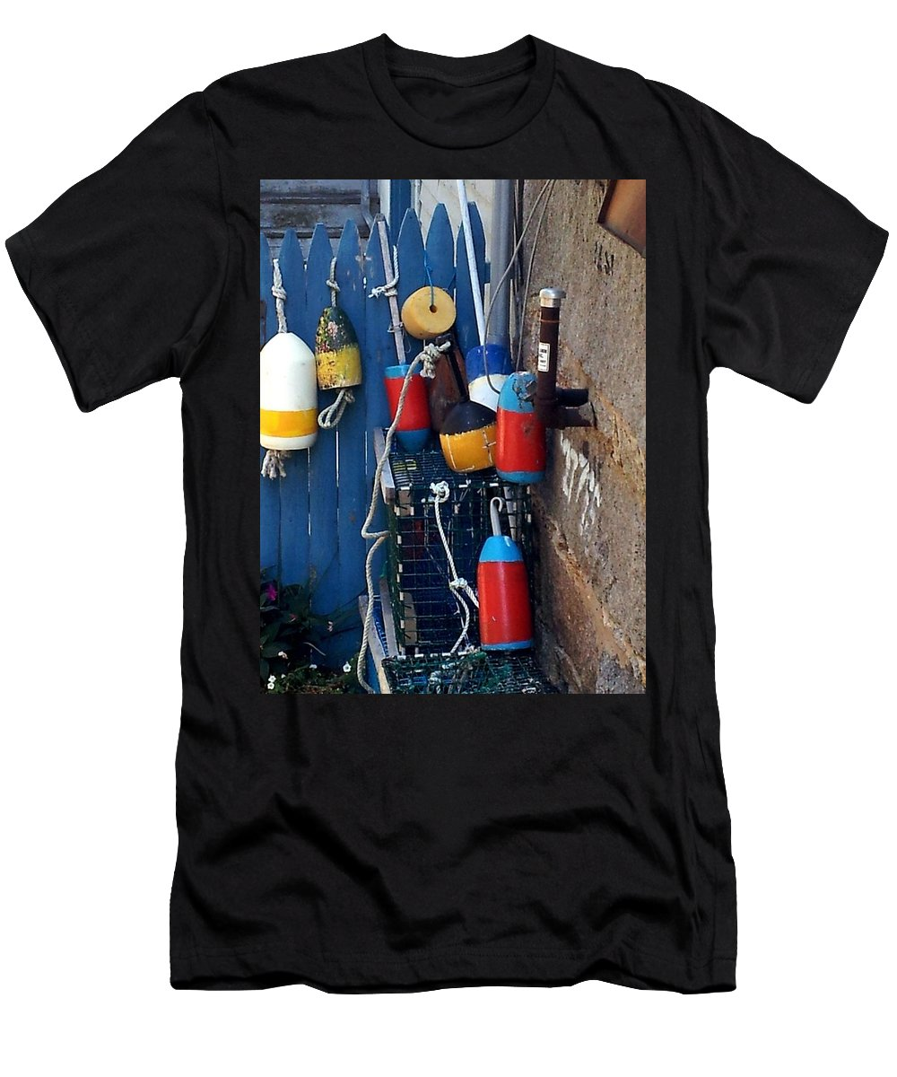 Coastal Men's T-Shirt (Athletic Fit) featuring the photograph Colorful Buoys by Christine Fournier
