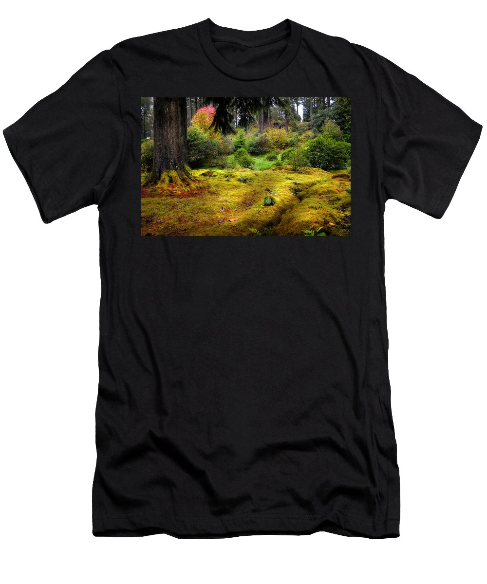 Scotland Men's T-Shirt (Athletic Fit) featuring the photograph Colorful Carpet Of Moss In Benmore Botanical Garden by Jenny Rainbow