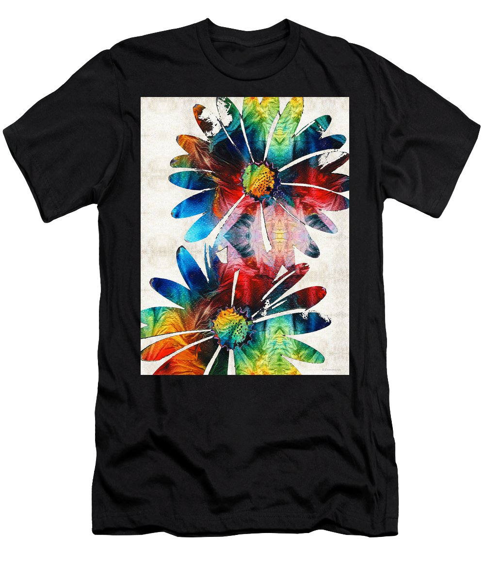 Daisy Men's T-Shirt (Athletic Fit) featuring the painting Colorful Daisy Art - Hip Daisies - By Sharon Cummings by Sharon Cummings
