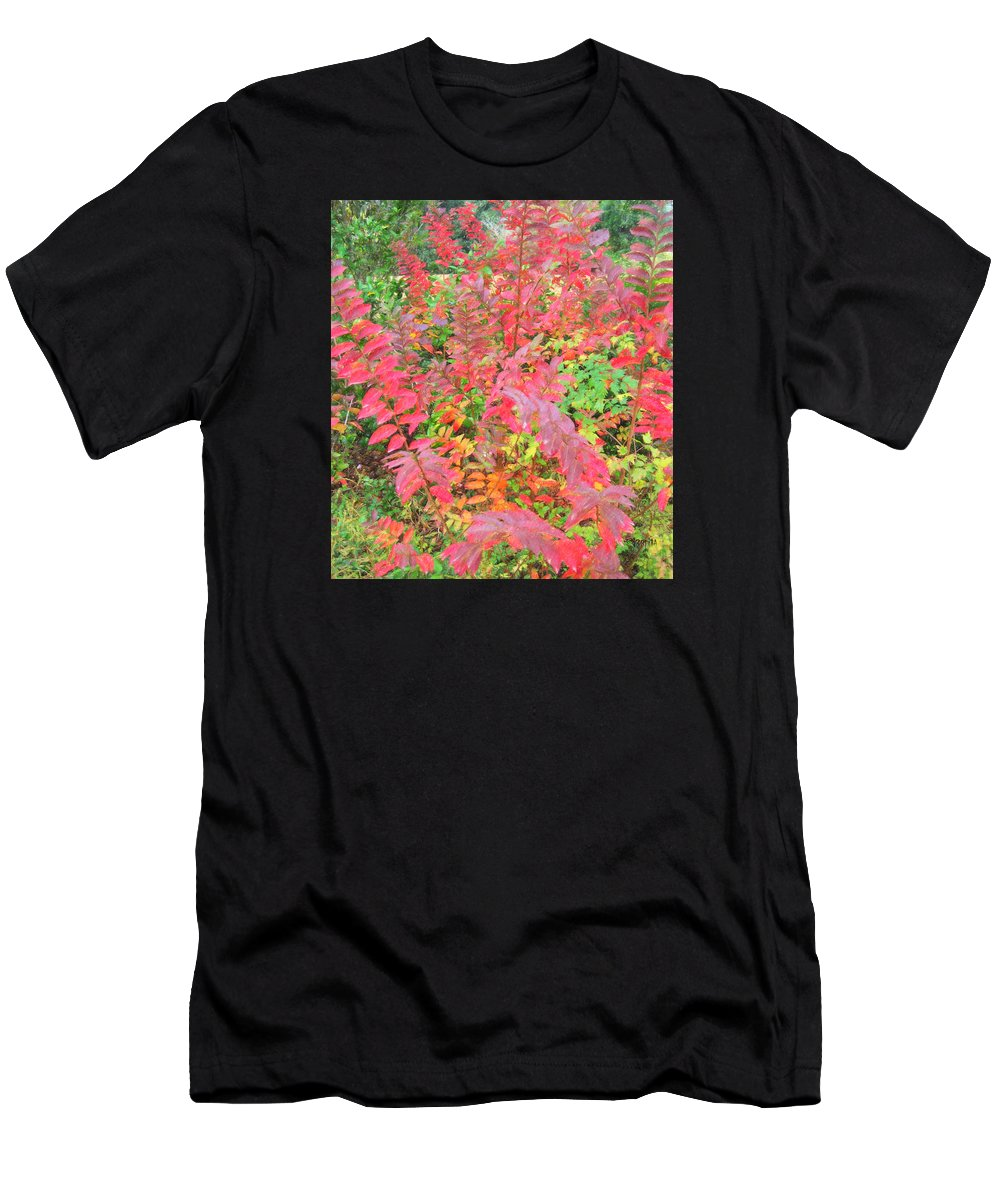 Colorful Fall Leaves Men's T-Shirt (Athletic Fit) featuring the photograph Colorful Fall Leaves Autumn Crepe Myrtle by Rebecca Korpita