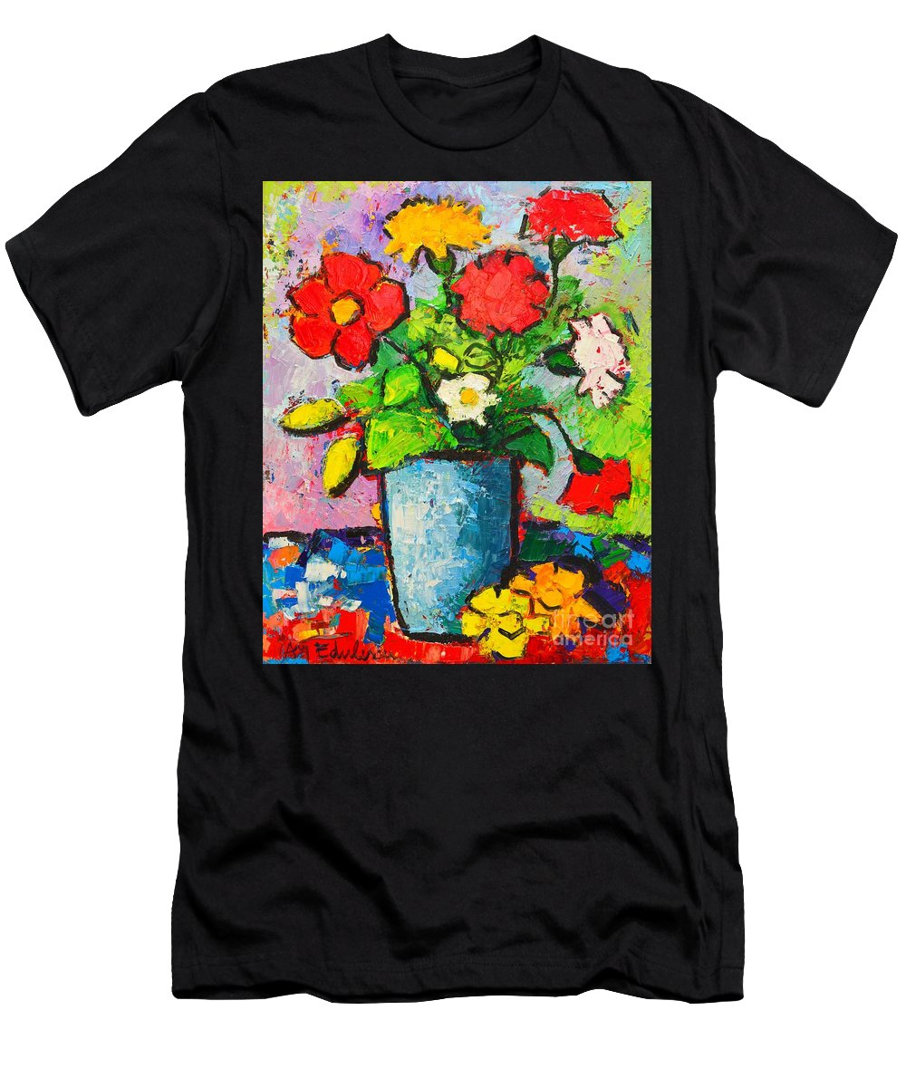 Flowers Men's T-Shirt (Athletic Fit) featuring the painting Colorful Flowers From My Garden by Ana Maria Edulescu