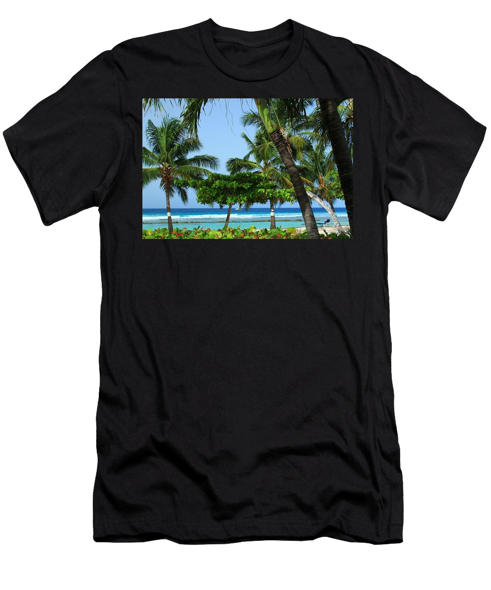 Barbados Men's T-Shirt (Athletic Fit) featuring the photograph Colorful Greens And Blues by Catie Canetti