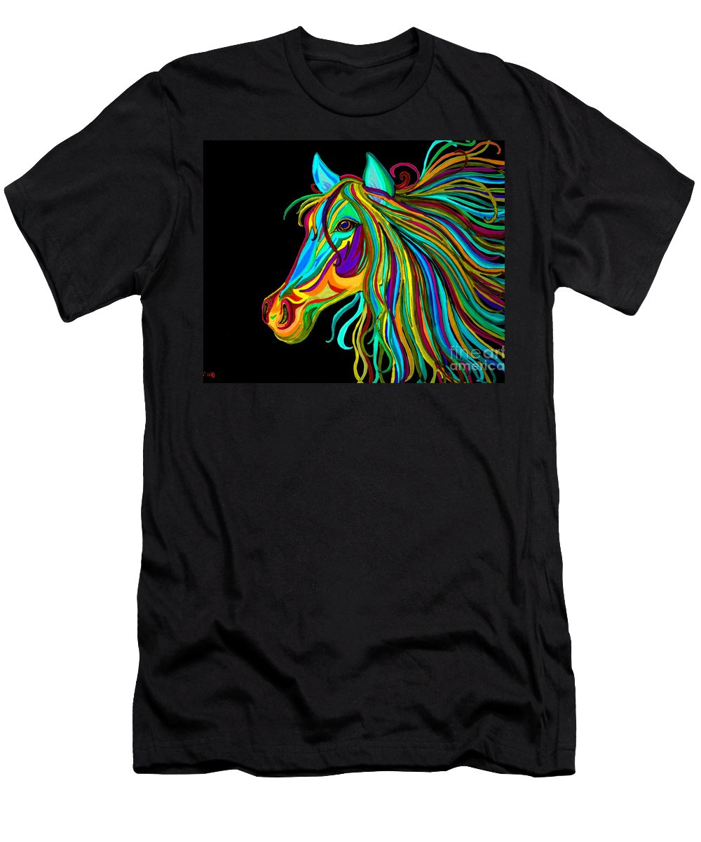 Horse Men's T-Shirt (Athletic Fit) featuring the drawing Colorful Horse Head 2 by Nick Gustafson