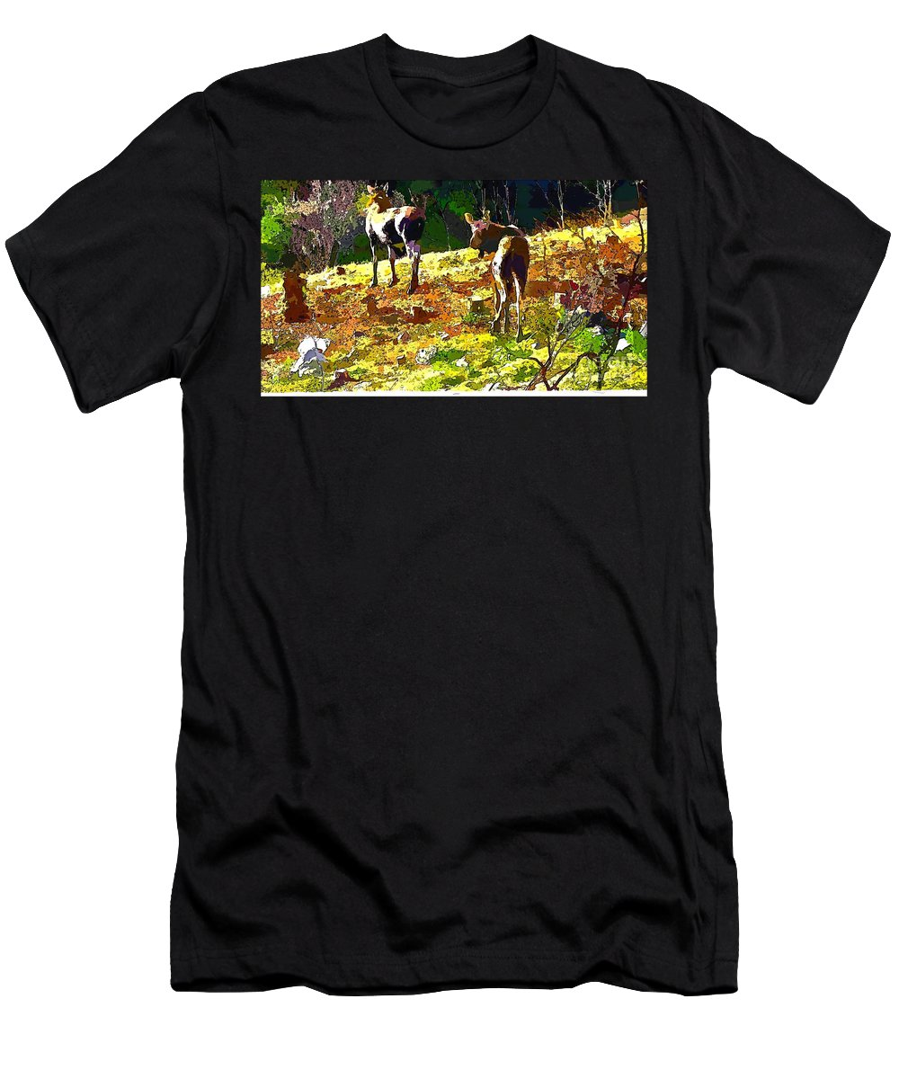 Colorful Moose Men's T-Shirt (Athletic Fit) featuring the photograph Colorful Moose by Barbara Griffin
