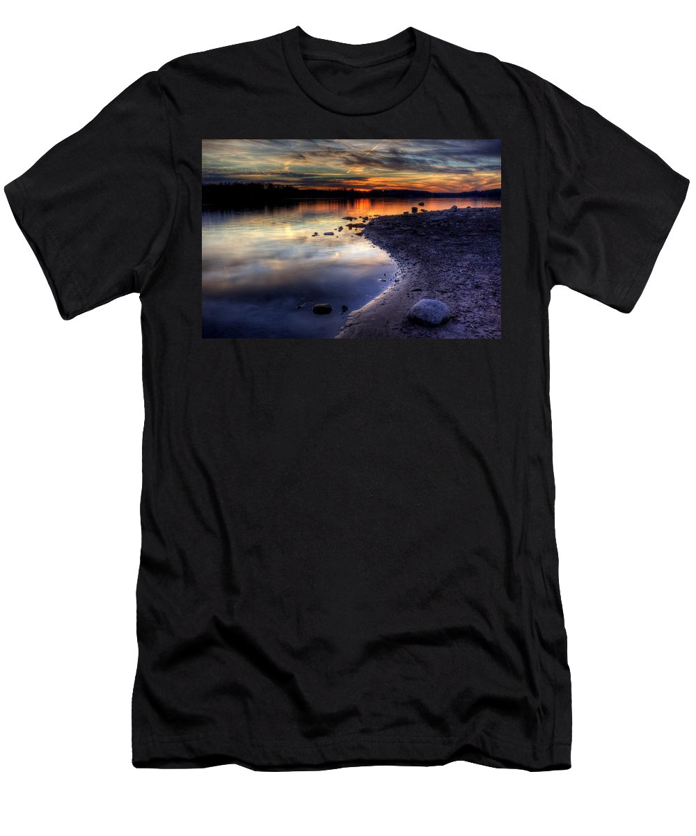 Sunset Men's T-Shirt (Athletic Fit) featuring the photograph Colorful Sunset by David Dufresne