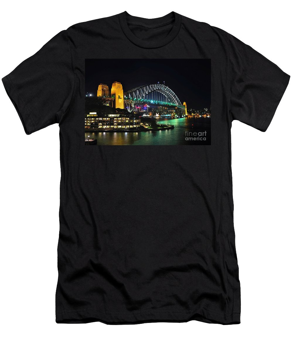 Photography Men's T-Shirt (Athletic Fit) featuring the photograph Colorful Sydney Harbour Bridge By Night 3 by Kaye Menner