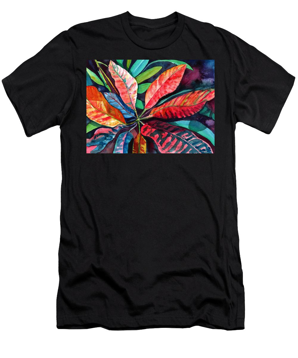 Tropical Leaves Men's T-Shirt (Athletic Fit) featuring the painting Colorful Tropical Leaves 2 by Marionette Taboniar