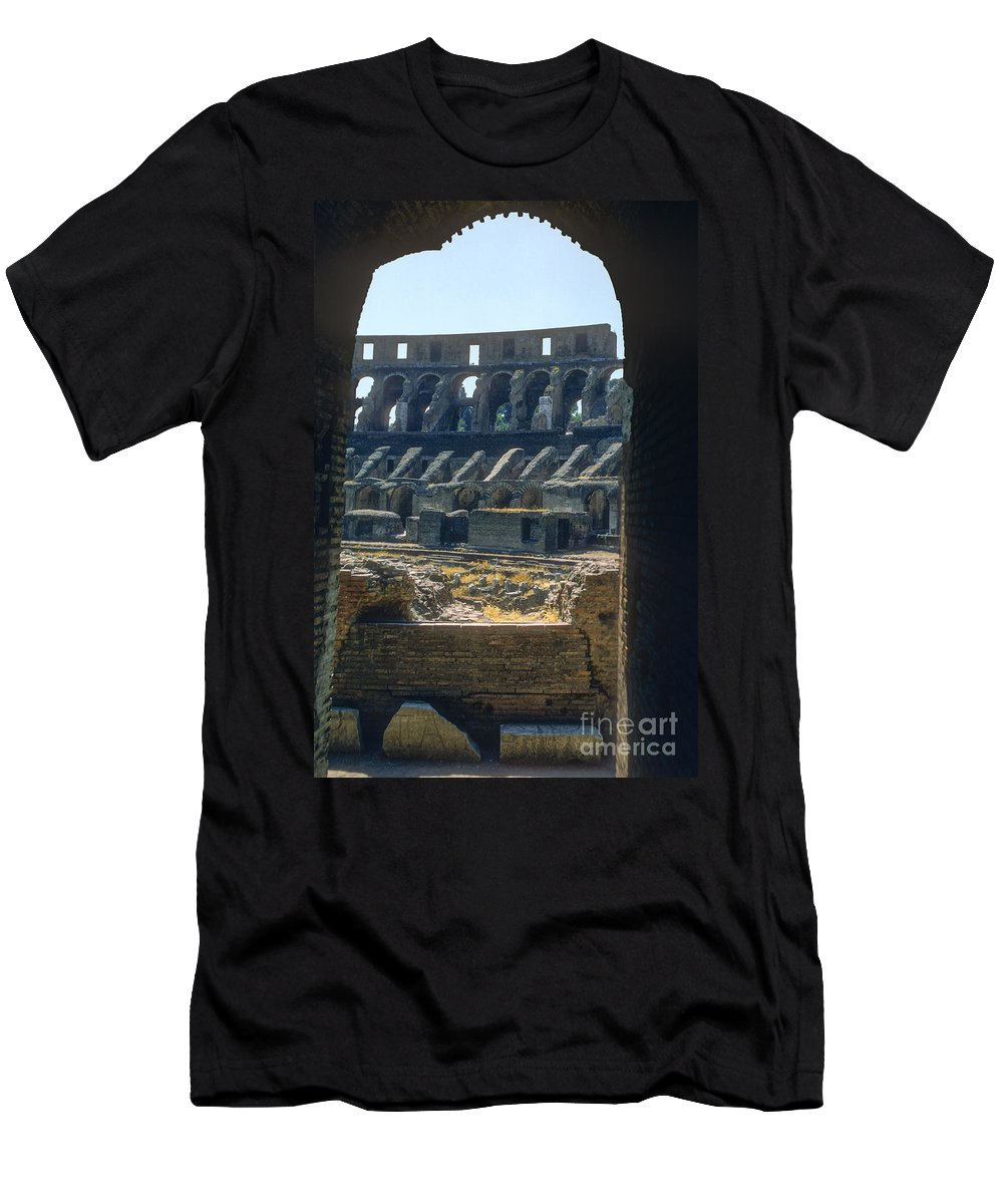 Rome Colosseum Ruin Roman Ruins Structure Structures Architecture Landmark Landmarks Italy Men's T-Shirt (Athletic Fit) featuring the photograph Colosseum Arch by Bob Phillips