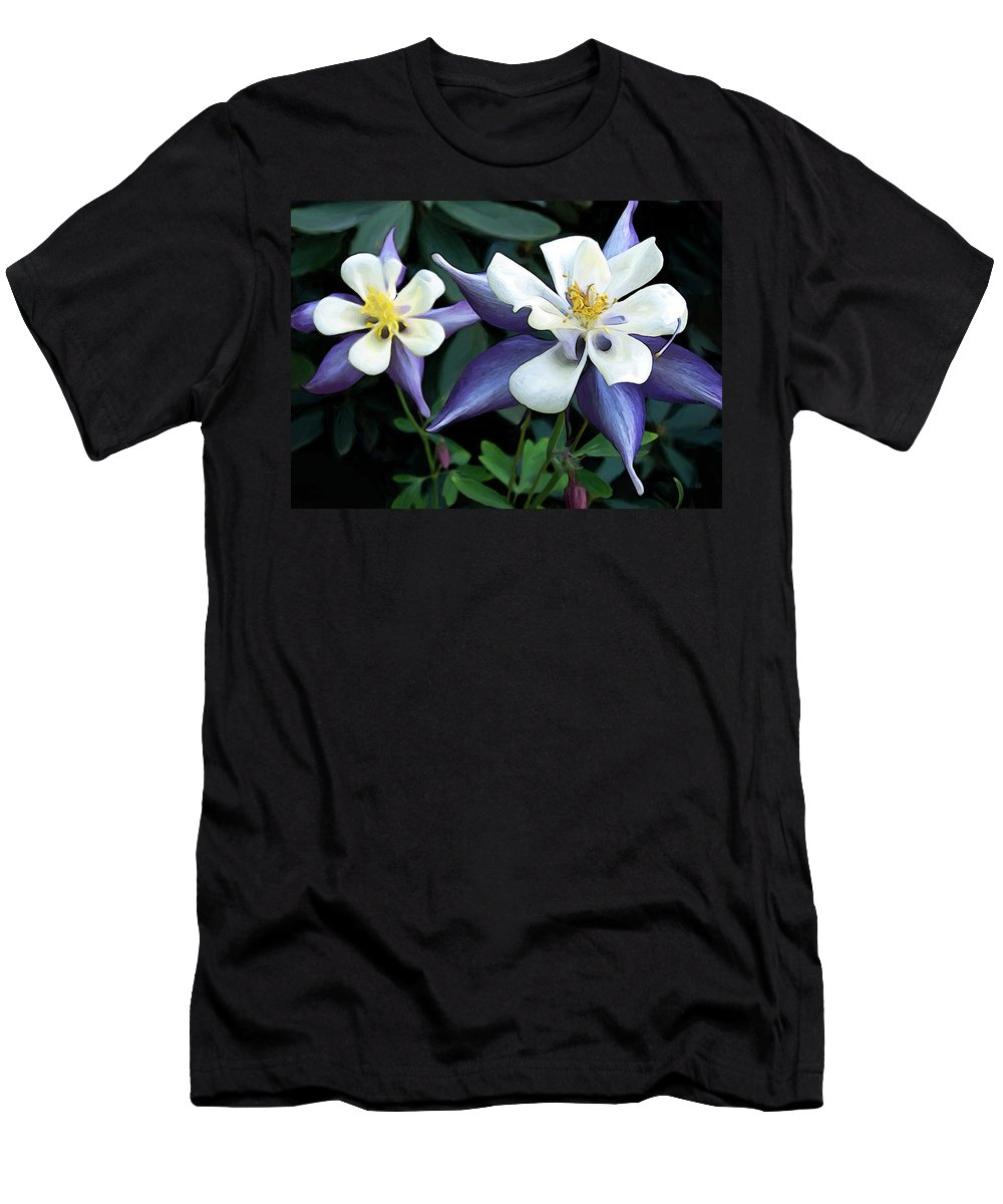 Columbine Men's T-Shirt (Athletic Fit) featuring the digital art Columbine Duo by Gary Olsen-Hasek