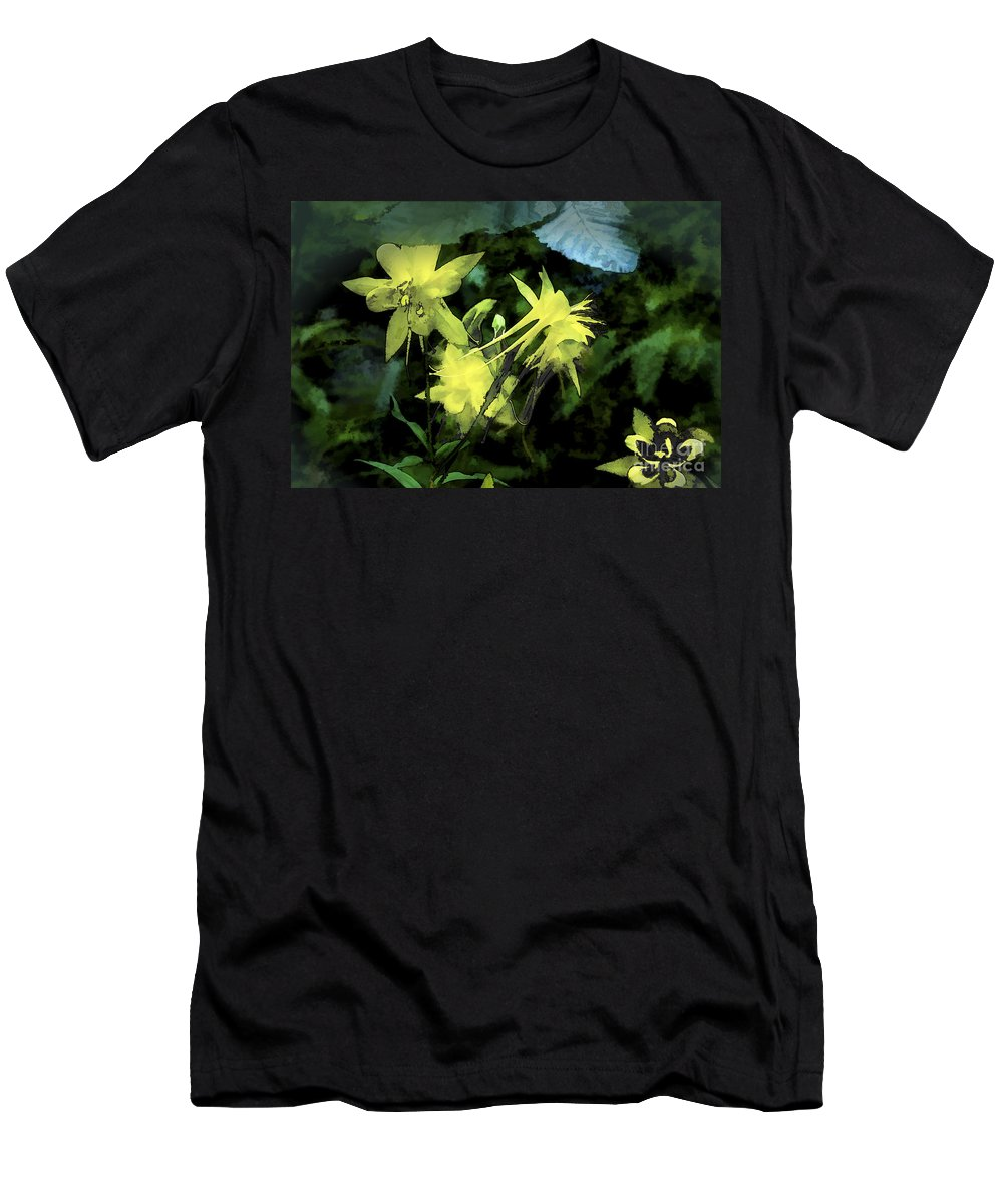 Columbines Men's T-Shirt (Athletic Fit) featuring the digital art Columbines Painterly by Georgianne Giese