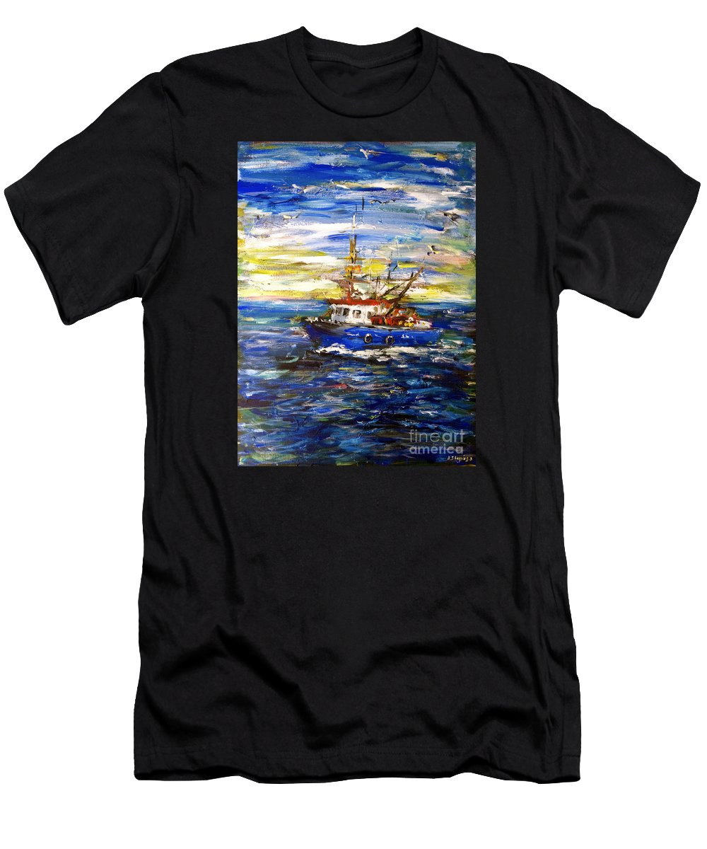 Fishing Boat Men's T-Shirt (Athletic Fit) featuring the painting Coming Back by Arturas Slapsys