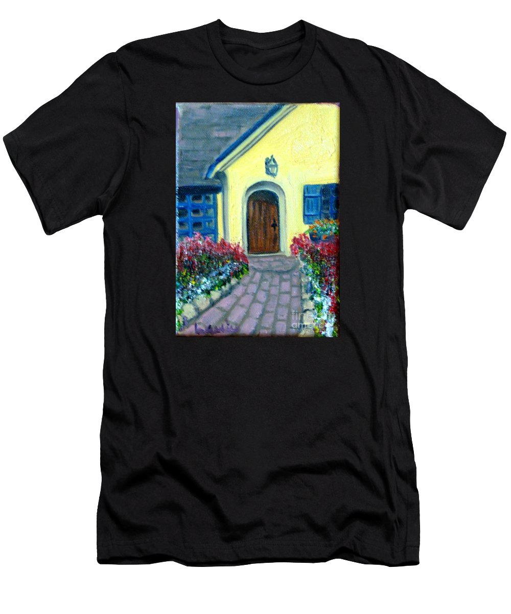Cottage T-Shirt featuring the painting Coming Home by Laurie Morgan