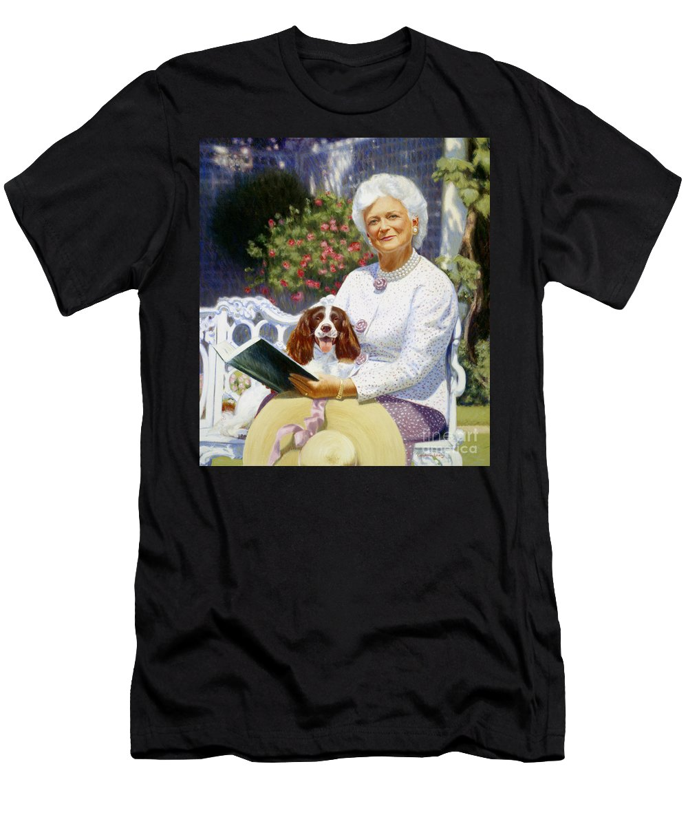 Barbara Bush Men's T-Shirt (Athletic Fit) featuring the painting Companions In The Garden by Candace Lovely