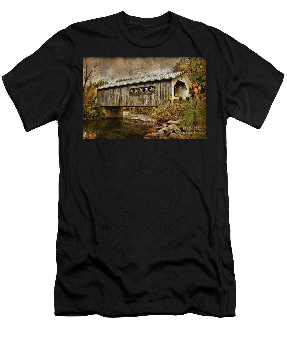 Vermont Bridge Men's T-Shirt (Athletic Fit) featuring the photograph Comstock Bridge 2012 by Deborah Benoit
