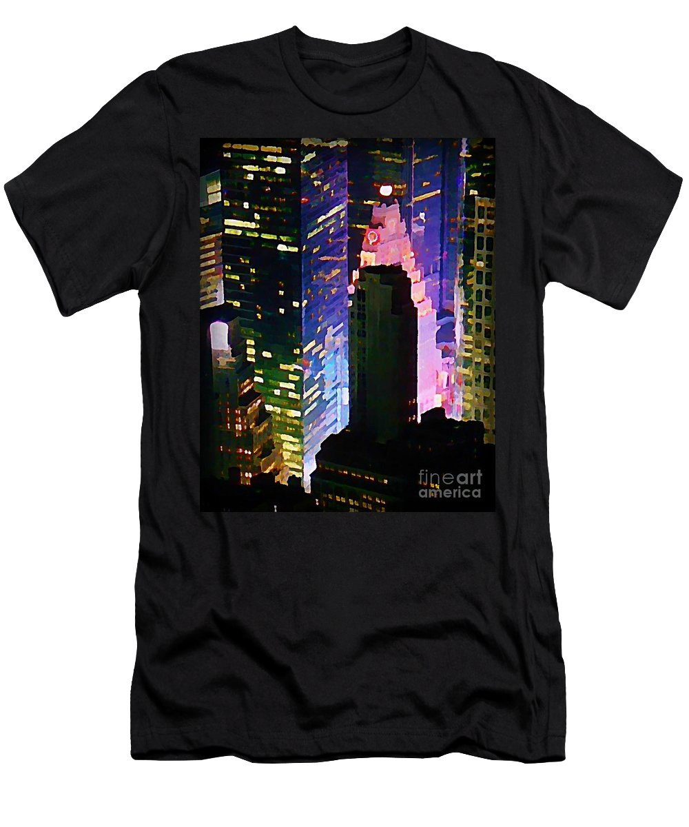 Concrete Canyons Of Manhattan At Night Men's T-Shirt (Athletic Fit) featuring the painting Concrete Canyons Of Manhattan At Night by John Malone