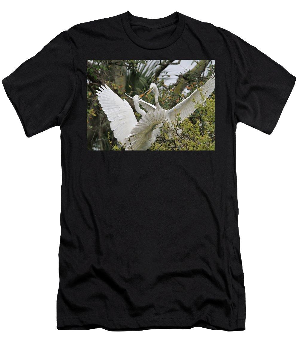 Egrets Men's T-Shirt (Athletic Fit) featuring the photograph Confrontation by Deborah Benoit