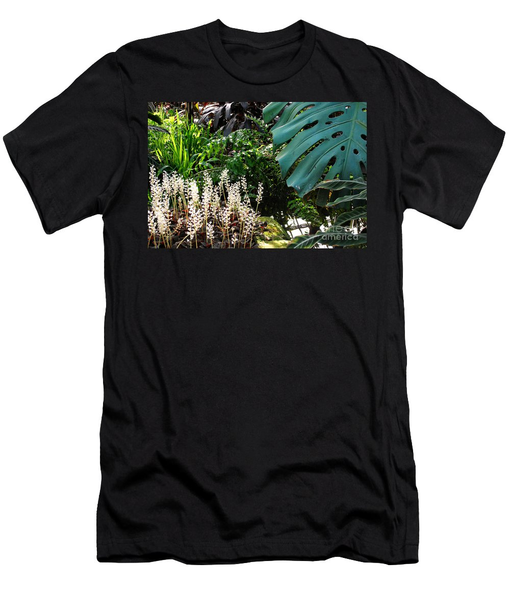 Ferns Men's T-Shirt (Athletic Fit) featuring the photograph Conservatory Leaves by Nancy Mueller