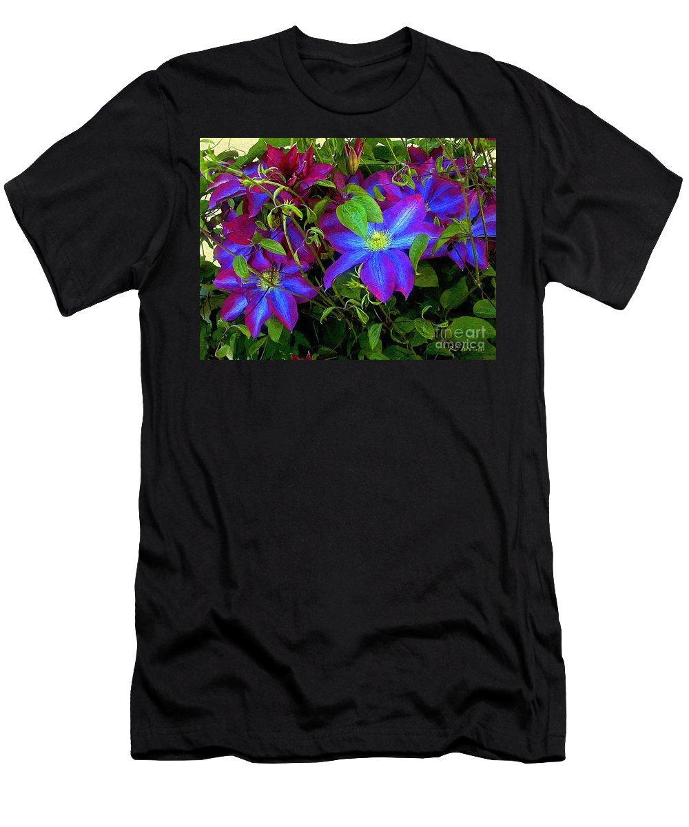 Clematis Men's T-Shirt (Athletic Fit) featuring the painting Constance's Clematis by RC DeWinter