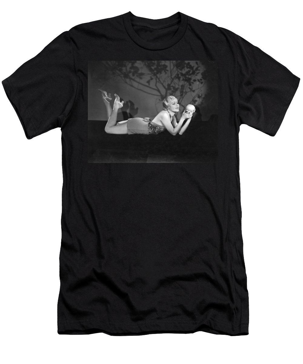 1 Person Men's T-Shirt (Athletic Fit) featuring the photograph Contemplating A Grapefruit by Elmer Fryer